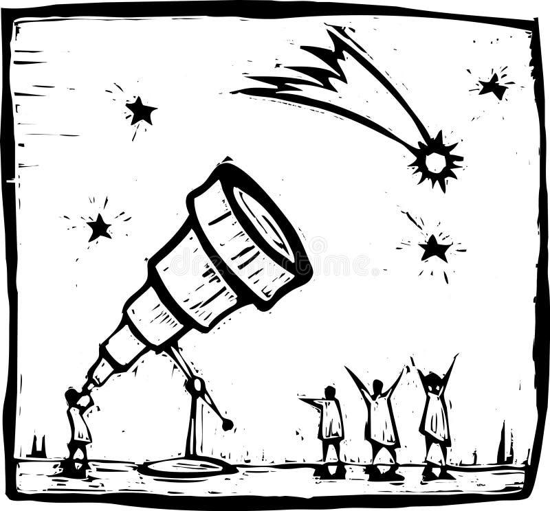 Telescopio y cometa ilustración del vector