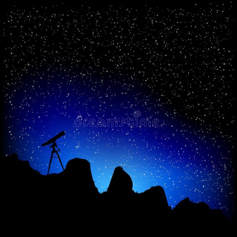 Telescopio y estrellas libre illustration
