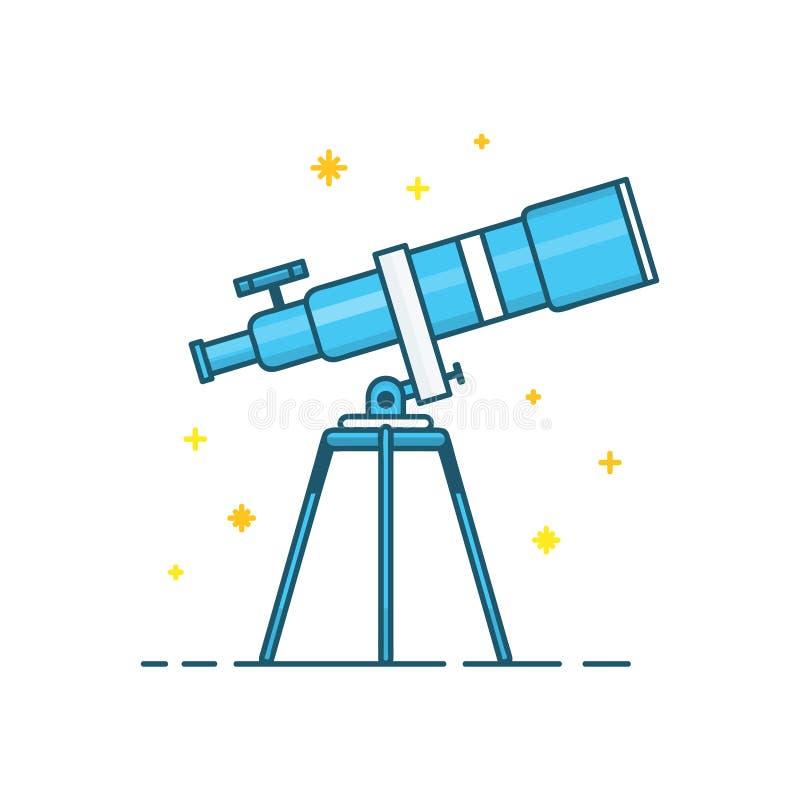 Telescopio y estrellas Línea moderna del vector libre illustration