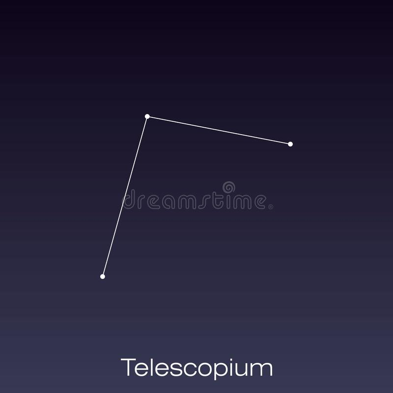 Constellation as it can be seen by the naked eye. Telescopium constellation as it can be seen by the naked eye stock illustration