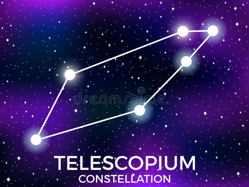 Telescopium constellation. Starry night sky. Cluster of stars and galaxies. Deep space. Vector. Illustration royalty free illustration