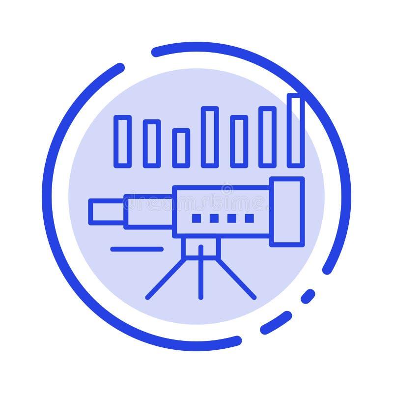 Teleskop affär, prognos, beräkning, marknad, trend, blå prickig linje linje symbol för vision royaltyfri illustrationer