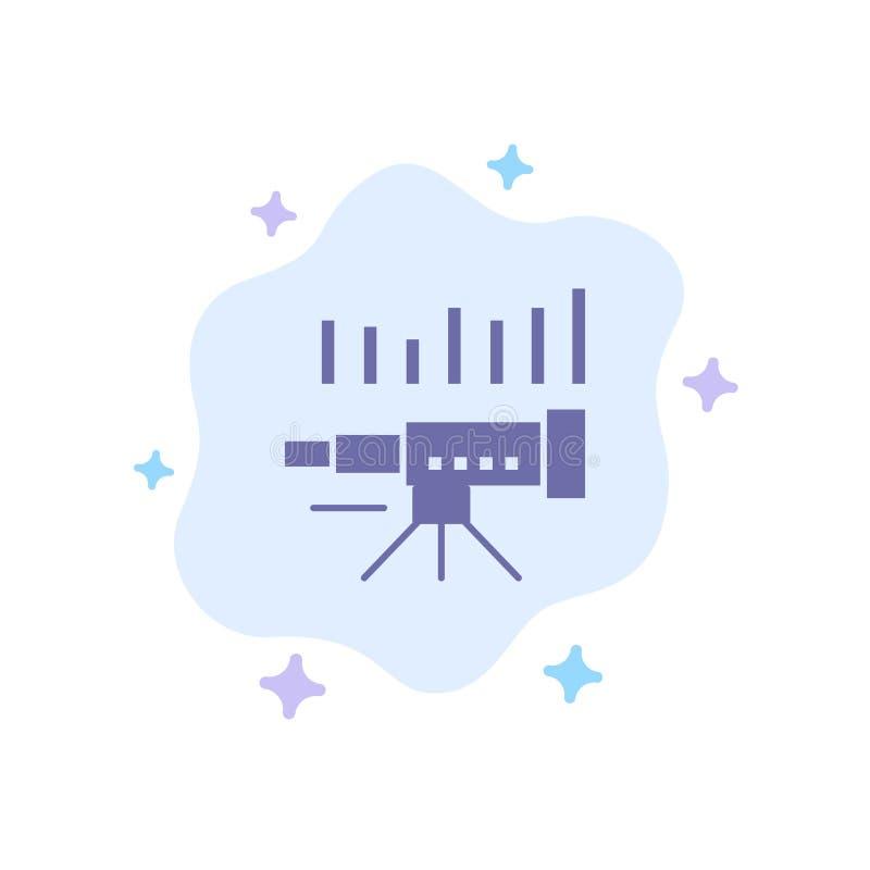 Teleskop affär, prognos, beräkning, marknad, trend, blå symbol för vision på abstrakt molnbakgrund royaltyfri illustrationer