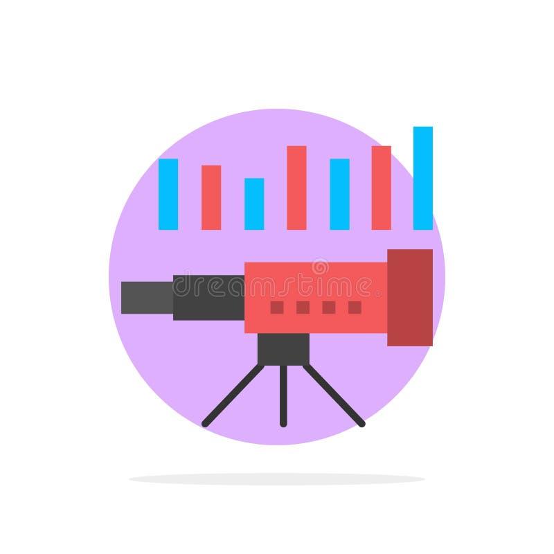 Teleskop affär, prognos, beräkning, marknad, trend, för abstrakt symbol för färg cirkelbakgrund för vision plan vektor illustrationer