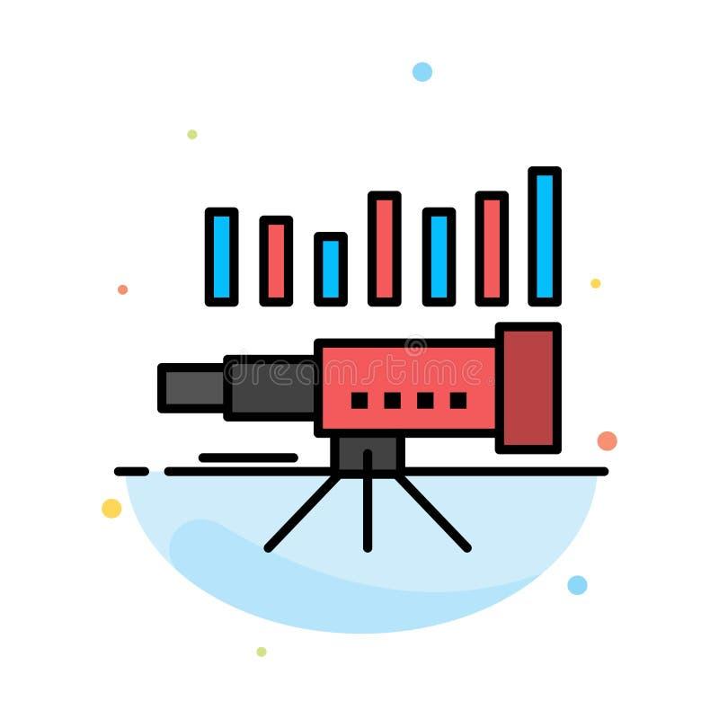 Teleskop affär, prognos, beräkning, marknad, trend, för färgsymbol för vision abstrakt plan mall vektor illustrationer