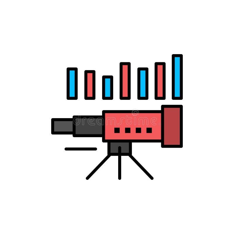 Teleskop affär, prognos, beräkning, marknad, trend, plan färgsymbol för vision Mall för vektorsymbolsbaner stock illustrationer