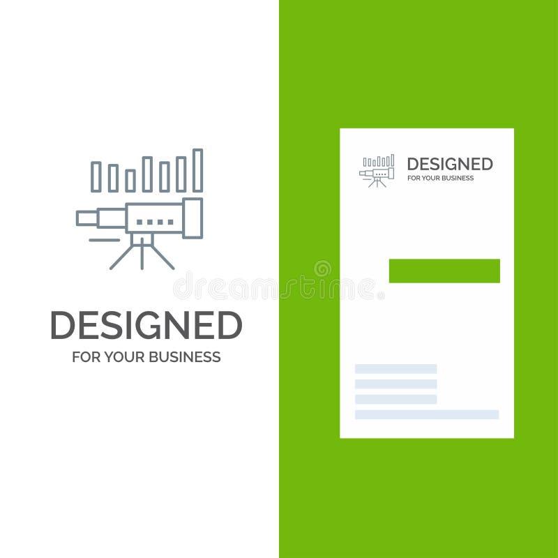 Teleskop, affär, prognos, beräkning, marknad, trend, vision Grey Logo Design och mall för affärskort royaltyfri illustrationer