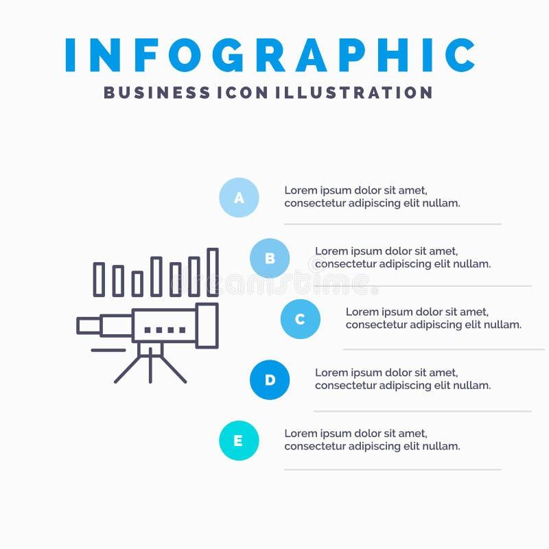 Teleskop affär, prognos, beräkning, marknad, trend, visionlinje symbol med för presentationsinfographics för 5 moment bakgrund vektor illustrationer