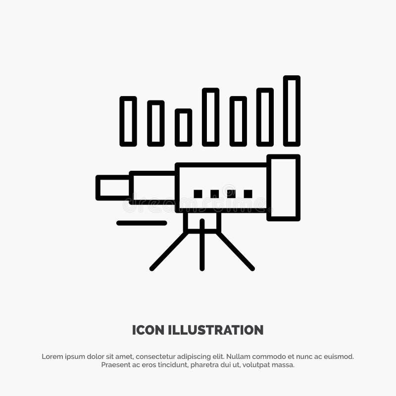 Teleskop affär, prognos, beräkning, marknad, trend, visionlinje symbolsvektor royaltyfri illustrationer