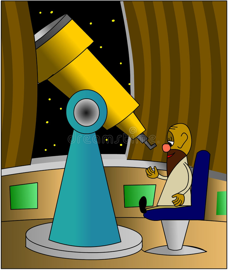 teleskop astronoma royalty ilustracja
