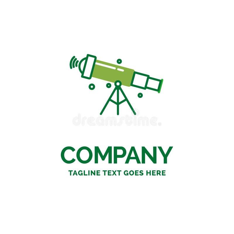 Teleskop, Astronomie, Raum, Ansicht, Geschäfts-Logo templ des lauten Summens flaches vektor abbildung