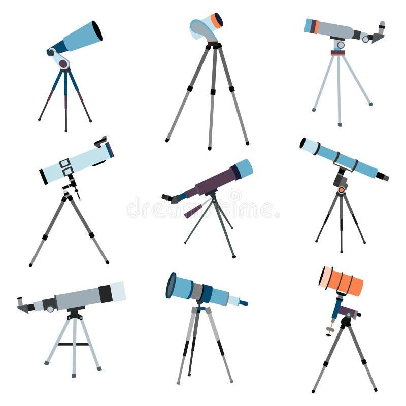 Teleskop för astronomi För sökandekosmos för optiskt instrument utrymme vektor stock illustrationer