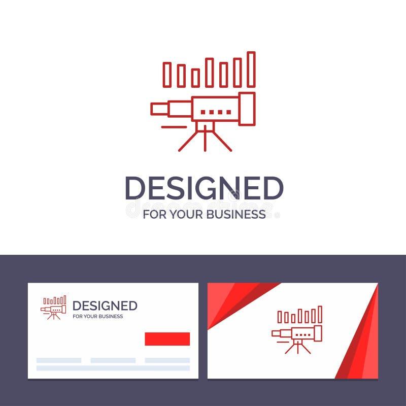 Teleskop för idérik mall för affärskort och logo, affär, prognos, beräkning, marknad, trend, visionvektorillustration stock illustrationer