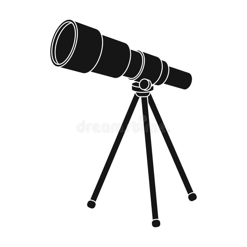Teleskop för skolor Apparat för astronomi Apparat för kontroll av stjärnorna Enkel symbol för skola och för utbildning in royaltyfri illustrationer