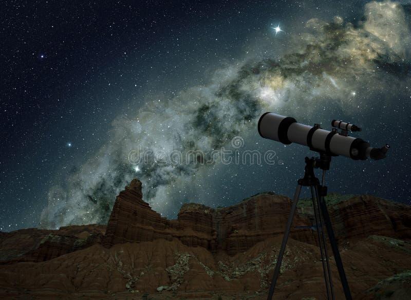Teleskop i natthimmel royaltyfri foto