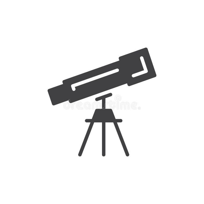Teleskop ikony wektor, wypełniający mieszkanie znak, stały piktogram odizolowywający na bielu ilustracji