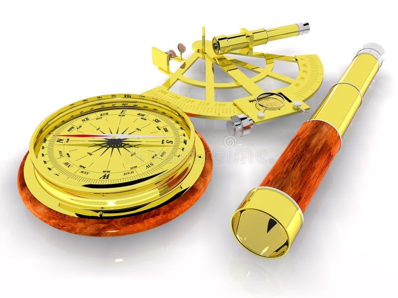 Teleskop, kompas i Sextant, ilustracja wektor