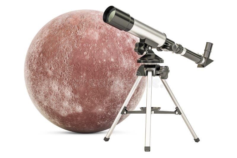 Teleskop mit Mercury, Wiedergabe 3D stock abbildung
