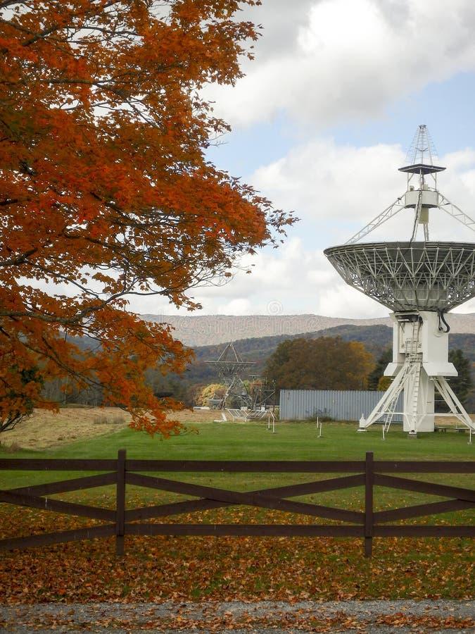 Teleskop observatorium för astronomi för nationell radio för gräsplanbank royaltyfria bilder