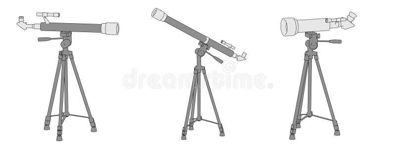 teleskop (optiska apparater) royaltyfri illustrationer