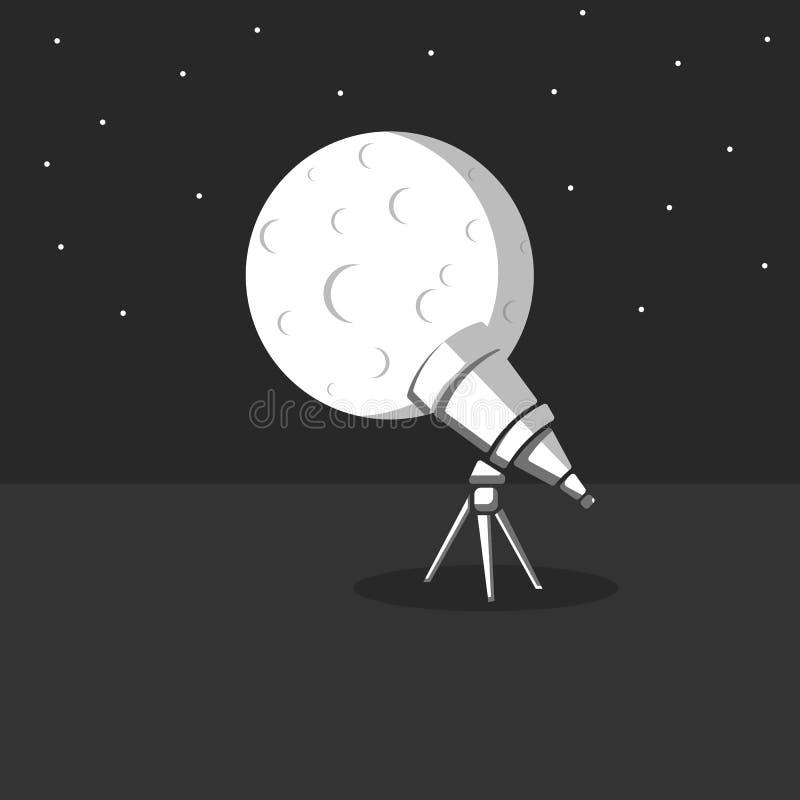 Teleskop på en tripod på bakgrunden av en stor fullmåne med krater och stjärnor i natthimlen, illustration på temat av stock illustrationer