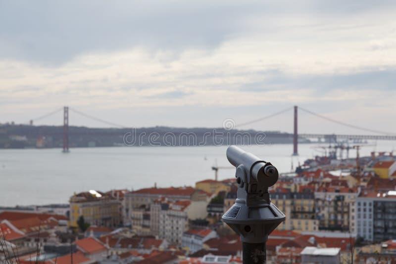 Teleskopet på observationsdäcket av slotten med suddig cityscape av Lissabon - Portugal - punkt av sikten - kopiera utrymme arkivfoto