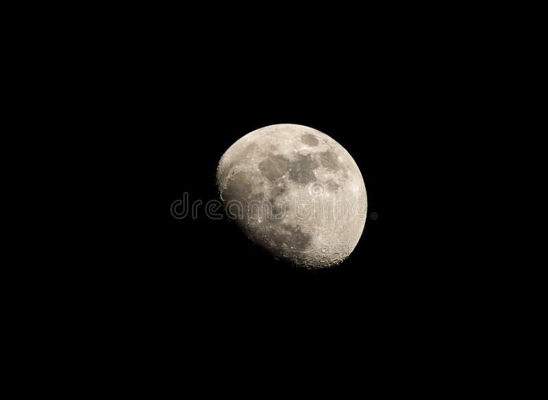 Teleskopowy widok księżyc od super zoom kamery fotografia stock