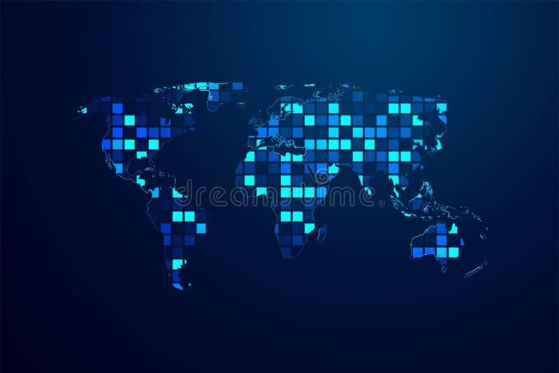 Teletechnicznej sieci mapa świat od linii i trójboków, ilustracji