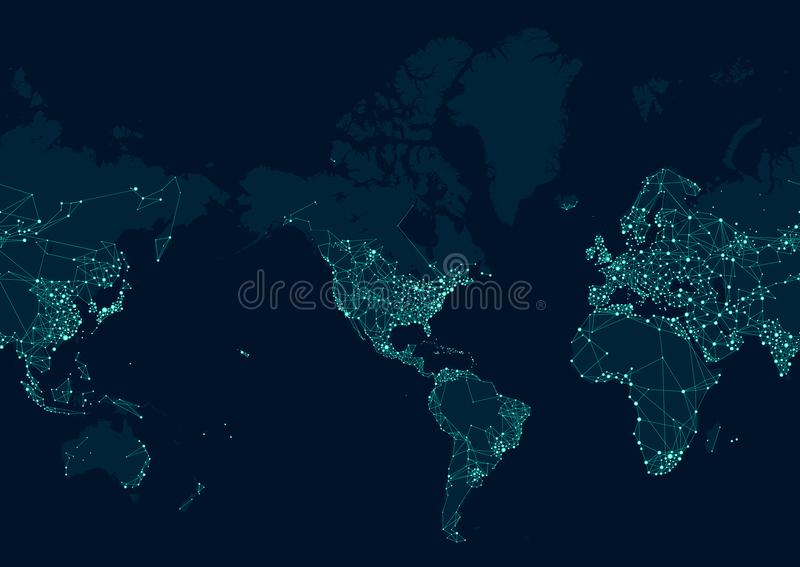 Teletechnicznej sieci mapa świat, Ześrodkowywająca w Amerykańskim kontynencie ilustracja wektor