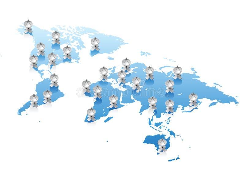 teletechniczny pojęcia mapy świat royalty ilustracja