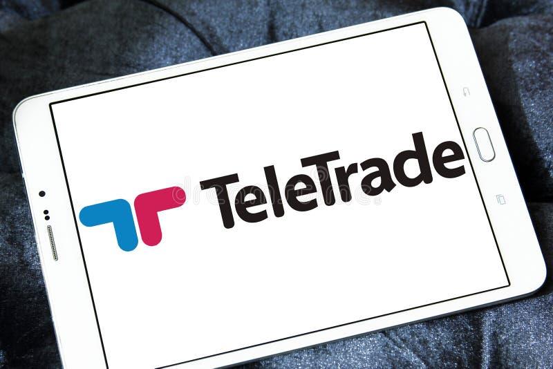 TeleTrade online-mäklarelogo arkivbild