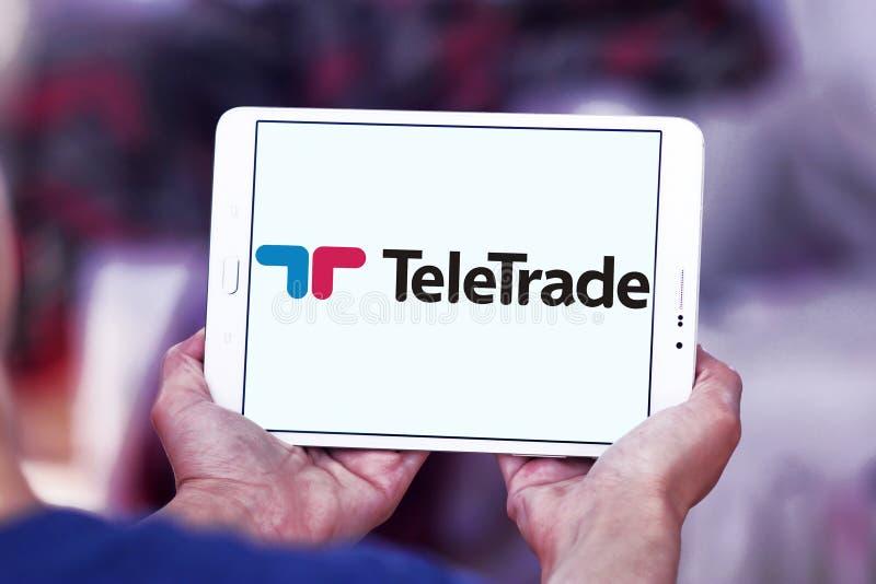 TeleTrade online-mäklarelogo royaltyfri foto