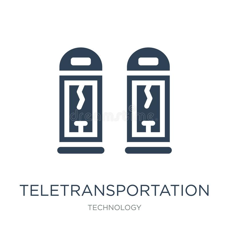 teletransportationsymbol i moderiktig designstil teletransportationsymbol som isoleras på vit bakgrund teletransportationvektor royaltyfri illustrationer