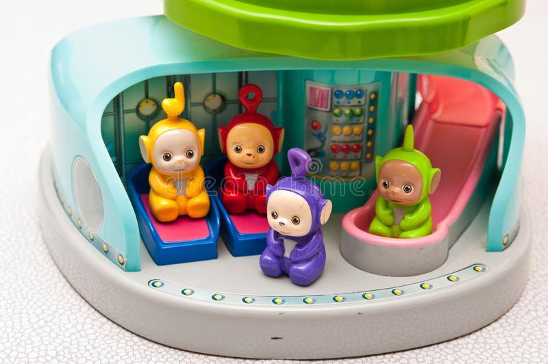 Teletubbies toys close-up. Editorial image of Teletubbies plastic toys on light background. Popular British pre-school children TV series characters royalty free stock image