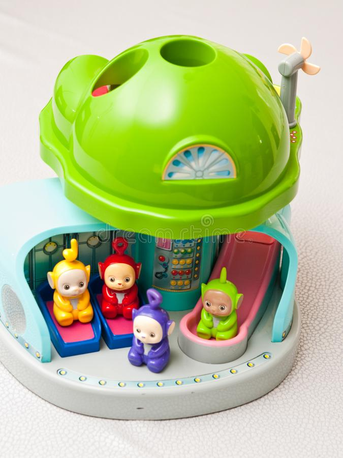 Teletubbies toys close-up. Editorial image of Teletubbies plastic toys on light background. Popular British pre-school children TV series characters royalty free stock photography