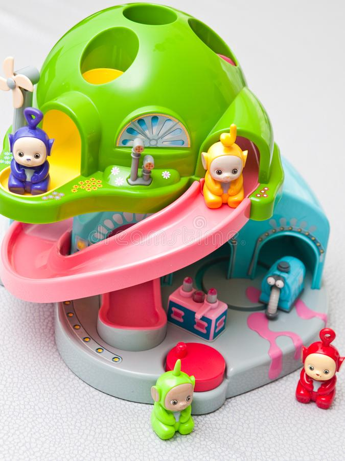 Teletubbies toys close-up. Editorial image of Teletubbies plastic toys on light background. Popular British pre-school children TV series characters royalty free stock photo