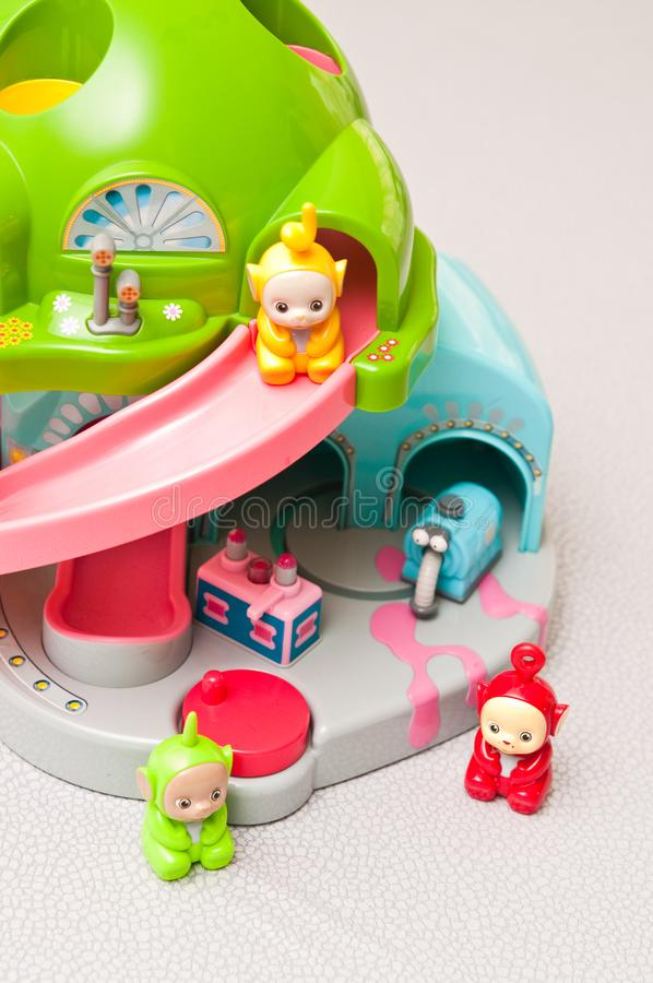 Teletubbies toys close-up. Editorial image of Teletubbies plastic toys on light background. Popular British pre-school children TV series characters royalty free stock images