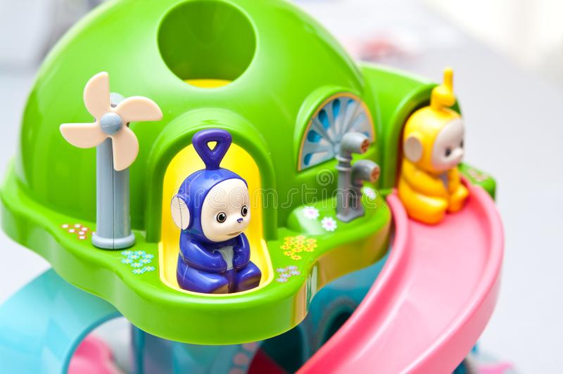 Teletubbies toys close-up. Editorial image of Teletubbies plastic toys on light background. Popular British pre-school children TV series characters stock image