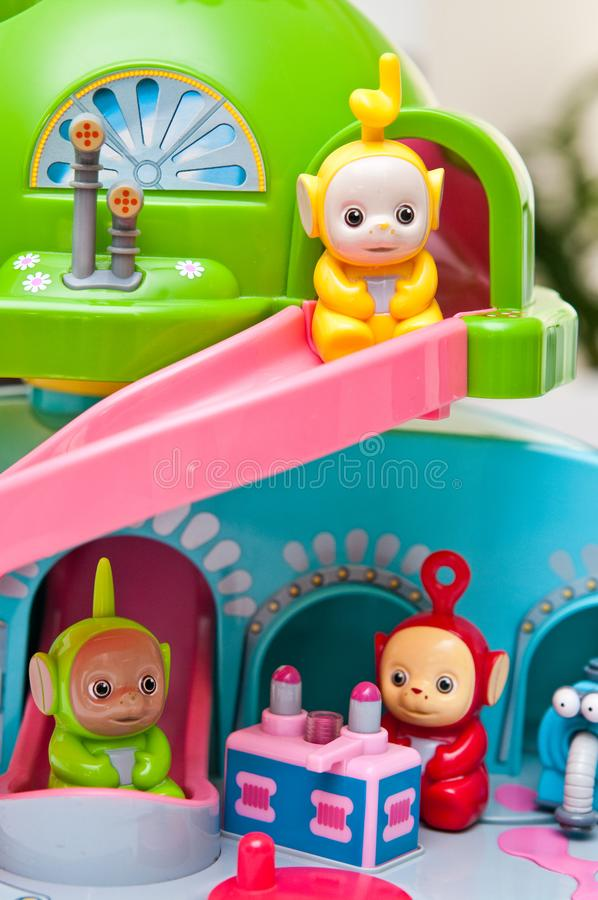 Teletubbies toys close-up. Editorial image of Teletubbies plastic toys on light background. Popular British pre-school children TV series characters stock photography