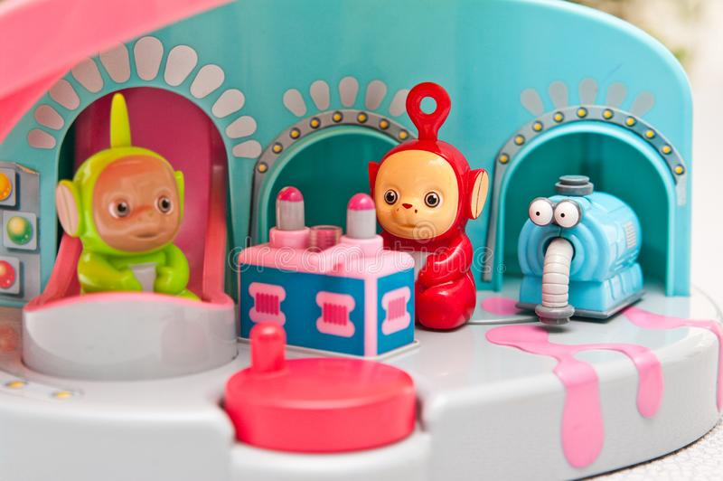 Teletubbies toys close-up. Editorial image of Teletubbies plastic toys on light background. Popular British pre-school children TV series characters stock photo