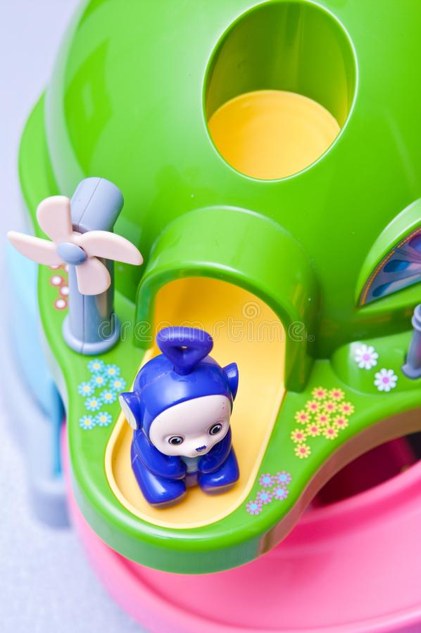 Teletubbies toys close-up. Editorial image of Teletubbies plastic toys on light background. Popular British pre-school children TV series characters stock photos