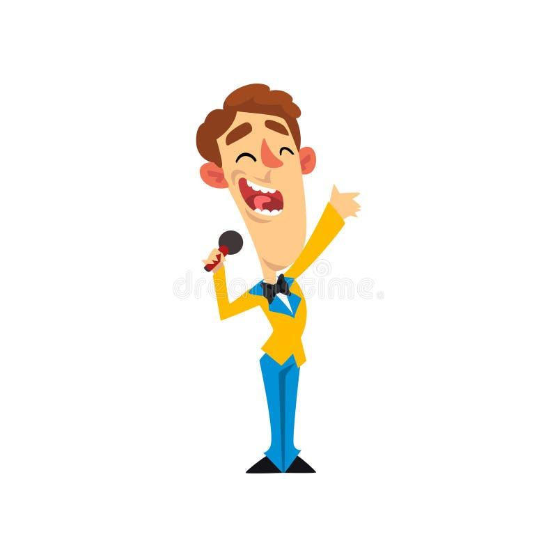 Teleturnieju gospodarz, uśmiechnięty mężczyzna z mikrofon wektorową ilustracją na białym tle royalty ilustracja