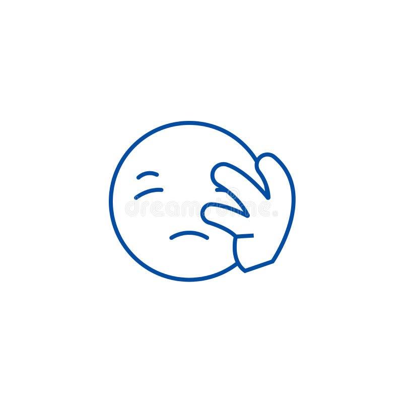 Teleurgesteld het pictogramconcept van de emojilijn Teleurgesteld emoji vlak vectorsymbool, teken, overzichtsillustratie vector illustratie