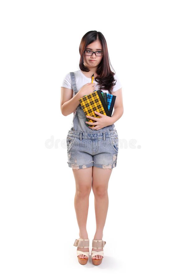 Teleurgesteld schoolmeisje, volledig lichaam stock foto