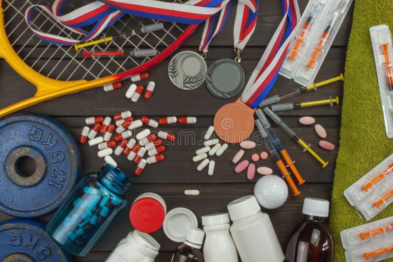 Teleurstelling in sporten Het smeren voor atleten Scammers in de sport Misbruik van anabole steroïden voor sporten royalty-vrije stock afbeelding
