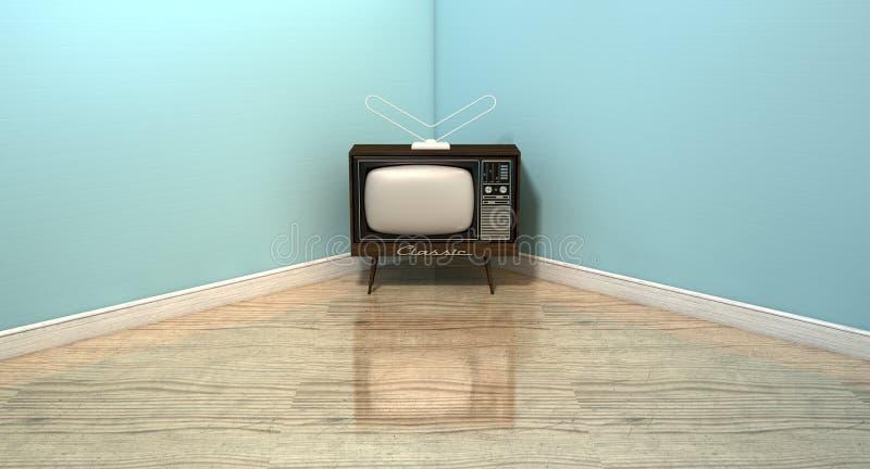 Televisão clássica velha em uma sala ilustração stock