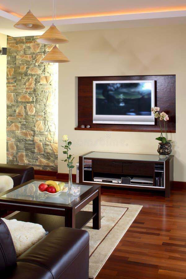 Televisão da sala de visitas fotos de stock