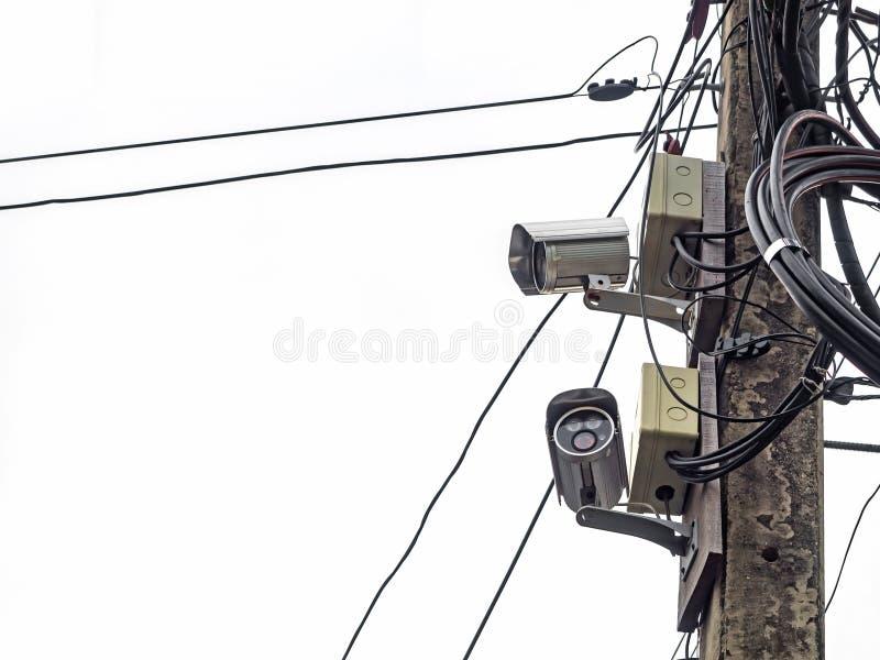 Televisão de circuito fechado no polo bonde fotos de stock