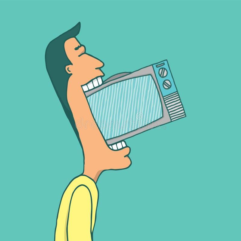 Televisão de consumo do homem ilustração stock