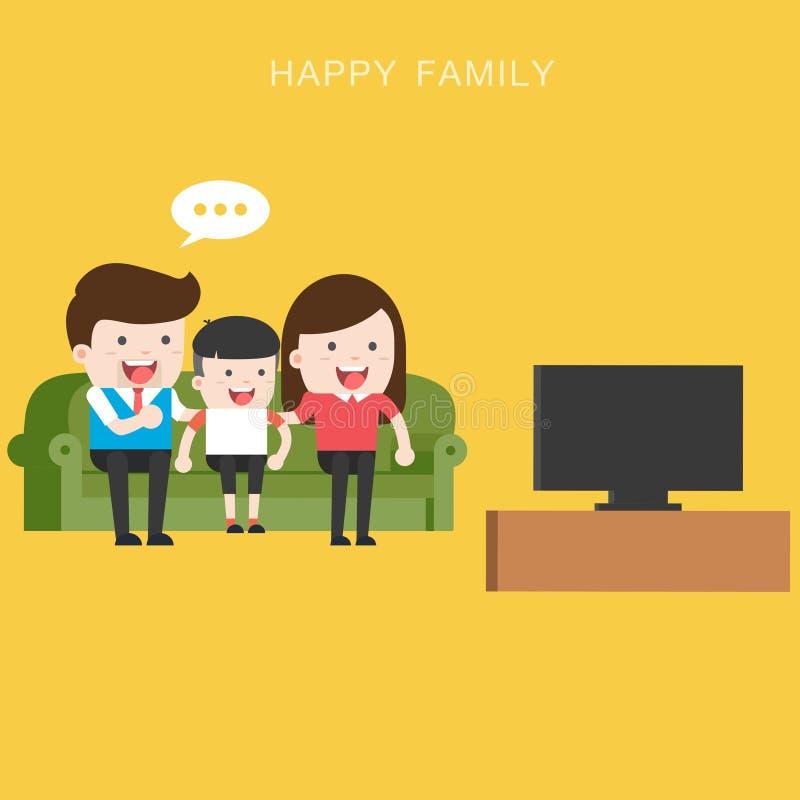 Televisão de observação da família feliz junto ilustração royalty free
